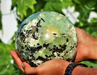 "Rare 6"" Druzy Green Tourmalinated Prehnite Quartz Crystal Healing Energy Sphere"