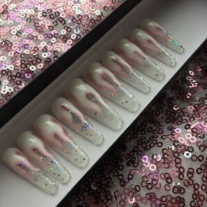 Hand Painted False Nails Clear Glitter Pink And White Flame Long Tapered Coffin