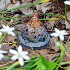 Multi Stone Conical Energy Generator Orgonite Round Pyramid Dream Crystal Silver