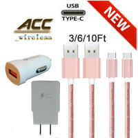 For Samsung Galaxy S10 S8 S9 Plus Fast Wall Charger 3/6/10 FT USB-C Type-C Cable