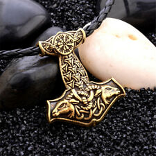 Mens Nordic Viking Mjolnir Pendant Leather Cord Myth Thor's Hammer Necklace
