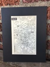 "City Map of Santiago, Chile 1958 Mid Century Black Matted 8""x10"" Art Print"