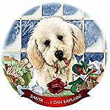 Labradoodle White Dog Porcelain Ornament Pet Gift 'Santa. I Can Explain!'