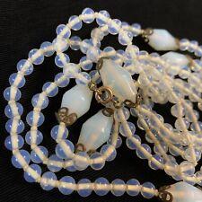 Antique Art Deco Opalite Glass Bead Flapper Long Necklace Brass Thumb Clasp 52�