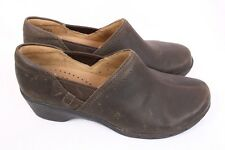 CLARKS Unstructured Un.Lory Brown Leather Slip on Clog Shoes Women 7.5 W Wide