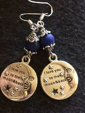 Love You To The Moon And Back Charm Earrings With Sodalite Stone