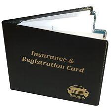 """Black 4-Pocket AUTO CAR INSURANCE REGISTRATION CARD HOLDER WALLET 5.25x4.6""""Vinyl"""