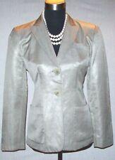 DKNY Donna Karan New York Dress Suit Jacket Sz 6 Silk Linen Beige Tan Taupe  S