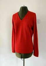 PURE Collection Ladies Size 12 Pure Cashmere V Neck Orange Long Sleeves Jumper