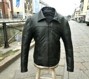 Giubbotto giacca pelle nero fonzie vintage anni 70 originale taglia L