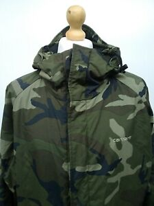 Vintage Mens Carhartt Camouflage Big Coat Jacket XL 27p2p