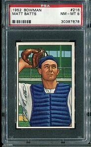 1952 Bowman #216 Matt Batts PSA 8
