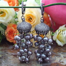 S092515 5MM  Black Pearl Earrings  CZ Cap