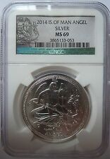 2014 Isle of Man Angel MS69 Graded BU with COA 1oz .999 Silver Bullion Coin