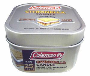 Coleman Tin Candle 6 OZ Smore's/ Citronella Repellent Scent 25 Hours 7713 NEW