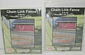 N SCALE CHAIN LINK FENCE - 2 PACKS OF 200 SCALE FEET, RRA-3071 OSBORN MODELS NEW