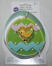 New! Wilton 2 Piece Metal Easter Cookie Cutter Egg with Baby Chick Inside