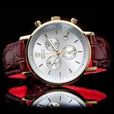 DETOMASO Milano Mens Gold Chronograph Watch Swiss ISA Rouge Leather New £139