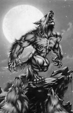 Framed Print - Werewolf Howling at the Full Moon (Gothic Picture Poster Vampire)