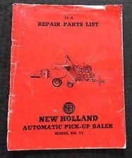 GENUINE 1951 NEW HOLLAND MODEL 77 AUTOMATIC PICK-UP BALER PARTS CATALOG MANUAL