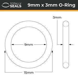 9x3 Nitrile (NBR) O-rings - 9mm Inner Diameter x 3mm Cross Section (15mm OD)
