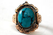 Antique 16K Solid Rose Gold and Natural Turquoise Ring Size 6 1/4