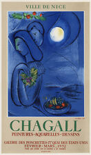 MARC CHAGALL Galerie des Ponchettes Exhibition Poster LOVERS EMBRACE Framed COA