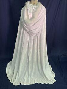 White Hooded Cape w/Maribou Trim Winter Formal Pressed Velvet Holiday Wedding