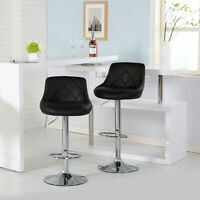Adjustable Set of 2 Counter Height Leather Bar Stools Swivel Dining Pub Chair US