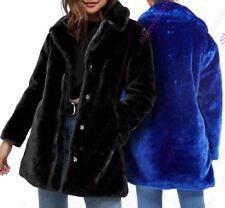 Womens Faux Fur Coat Plush Longline Warm Soft Blue Black Size 10 12 14 16 8
