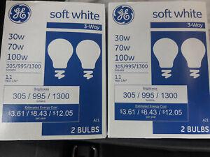 'GE' Soft White [3 way] Light Bulbs // 30/70/100w // [4 Bulbs] // 2 x 2 Packs //