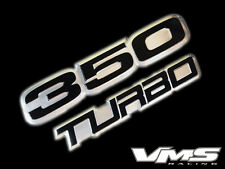 VMS 1 CHEVY 350 TURBO CUBIC INCH ENGINE ALUMINUM EMBLEMS BLACK CHROME SBC BLOCK