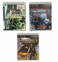 PS3 Uncharted Drake's Fourtune, 2 & 3 Game Bundle- CIB Complete W/Manuals Tedte