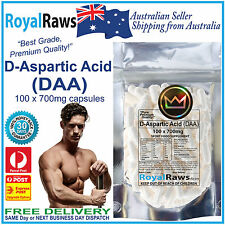 D-Aspartic Acid capsules DAA 100x700mg strength fat testosterone testicles loss