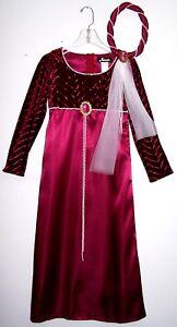 RENAISSANCE PRINCESS COSTUME Girl's S-M Burgundy Satin/Velvet Pearl-HEADBAND