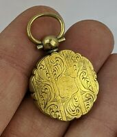Victorian Antique Locket Pinchbeck Engraved Design Fine Quality c19th Jewellery