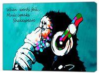 BANKSY DJ  GORILLA TURKUAZ  PAINT PRINT ON FRAMED CANVAS WALL ART DECORATION