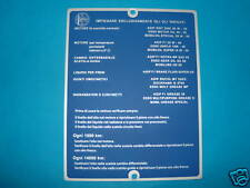 TARGA LUBRIFICANTI LANCIA FULVIA COUPE' RALLYE 1,6 HF FANALONE