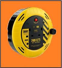 UK 3.7M CABLE EXTENSION REEL  - 2 GANG 10 AMP  WITH SAFETY CUT-OFF