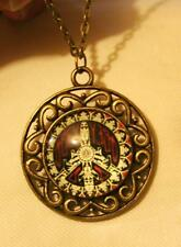 Handsome Openwork Round Burgundy Peace Sign Symbol Brasstone Pendant Necklace
