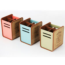 Desk Pen Holder Stand Plastic Office Organizer stationery pencil supplies box