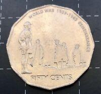 2005 AUSTRALIAN 50 CENT COIN - WORLD WAR 1939 - 1945 REMEMBRANCE ROBE CUD ERROR