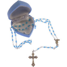 Childrens childs small blue rosary beads + blue heart box  Communion gift boy