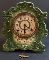 "ANTIQUE ANSONIA PORCELAIN ""TRUMP"" MANTLE CLOCK-BRASS 4 1/2 MOVEMENT-WORKING"