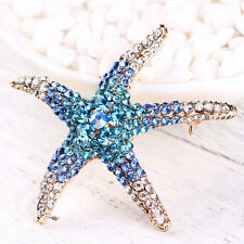 Opcional adorable azul cristal de estrella de mar rhinestone broches mujer boda