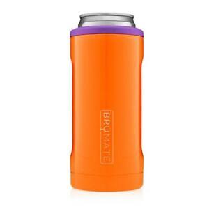 Brumate Hopsulator 12 oz Slim Can Cooler Tumbler Drink Holder ORANGE & PURPLE