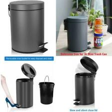 Round Mini Trash Can Lid Soft Close Removable Inner Wastebasket 0.8Gal 3L