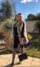 Brand New Fox Fur Gilet Light Grey Size 8-12 Perfect