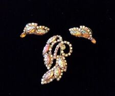 Vintage Amber Aurora Borealis Rhinestone & Navette Brooch Pin & Earrings Set