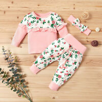 Baby Girls Clothes Set Newborn Infant Floral Long Sleeve Tops Pants Outfits 0-2T